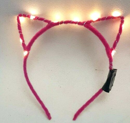 Flashing Cat EARS Led Alice Band Dance Party Bag Festival Rave 10 Batteries INC