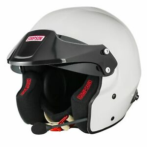 Simpson-Rally-FIA-8859-2015-Approved-Open-Face-Helmet-With-Intercom-amp-HANS-Posts
