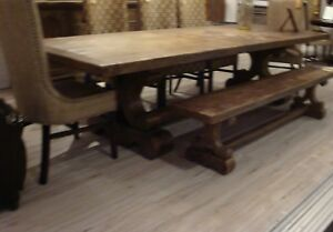Santefe Wood Rustic Table Extension Farmhouse Dining Table 108 144