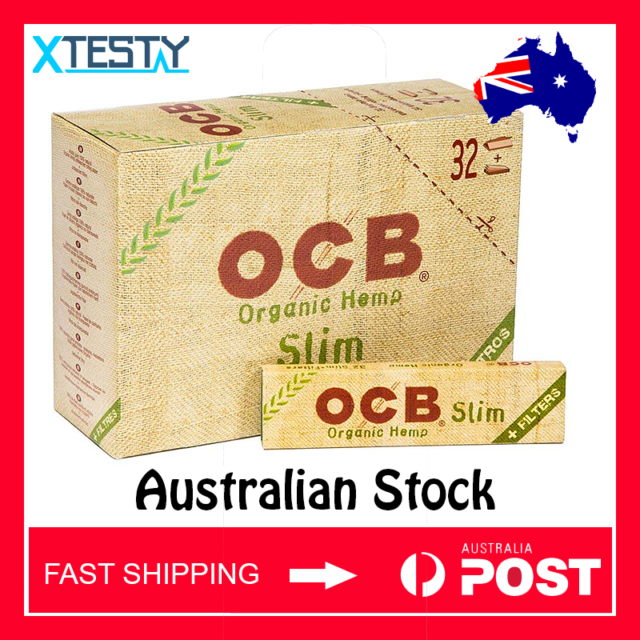 OCB Organic Hemp Vegan King Size Slim Unbleached Papers (Full Box) | Fast ship