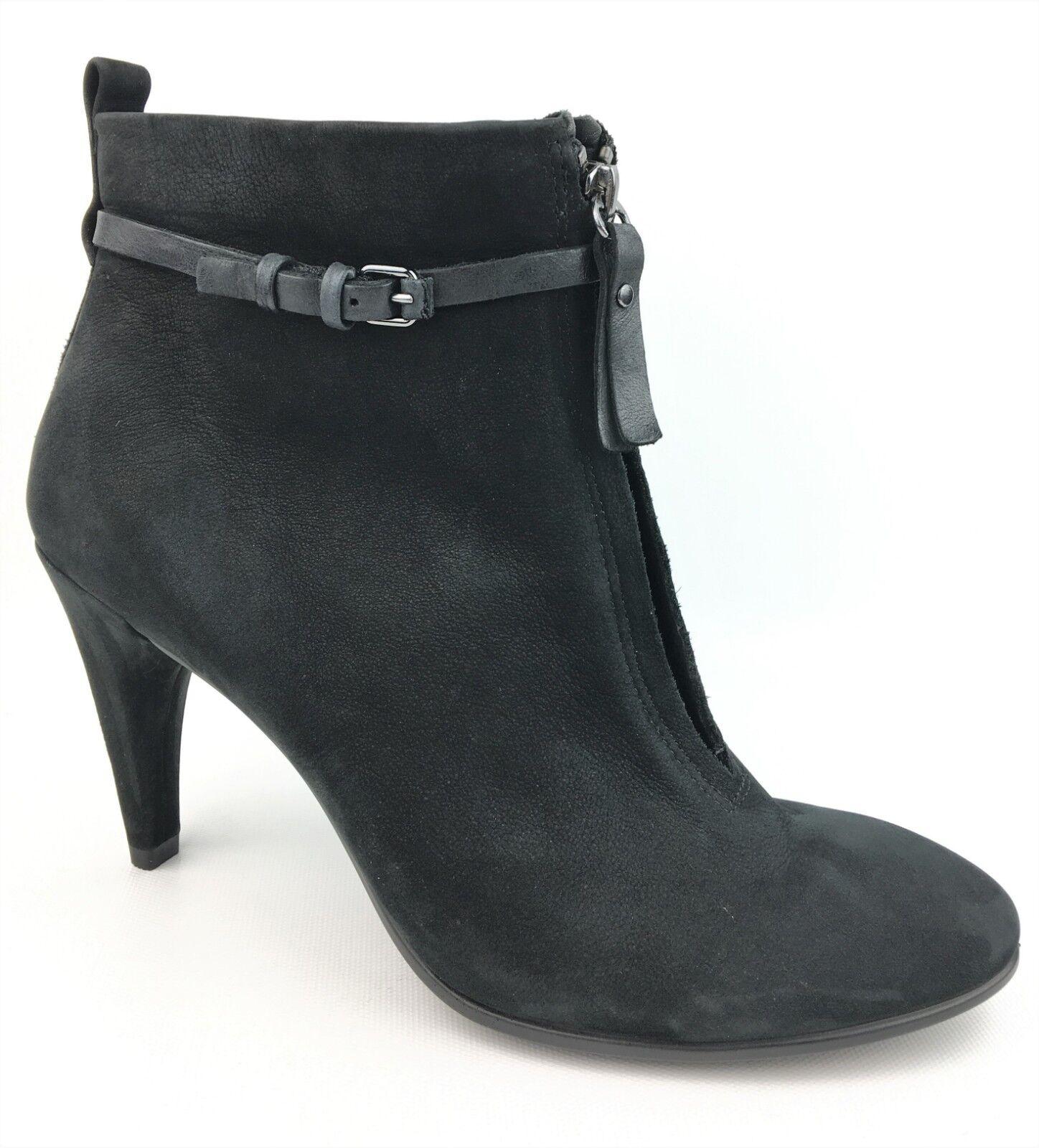 ECCO Shape 75 Sleek Black Nubuck Suede Ankle Heeled Booties sz  39 US 8-8.5