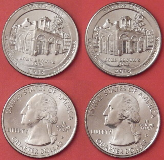 Brilliant Uncirculated 2016 P & D US Harpers Ferry 25 Cents From Mint's Rolls