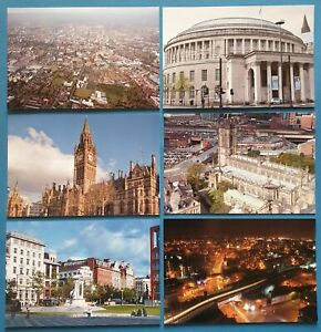 Set-of-6-Manchester-Postcards-England-City-View-Street-Travel-Landscape-48L