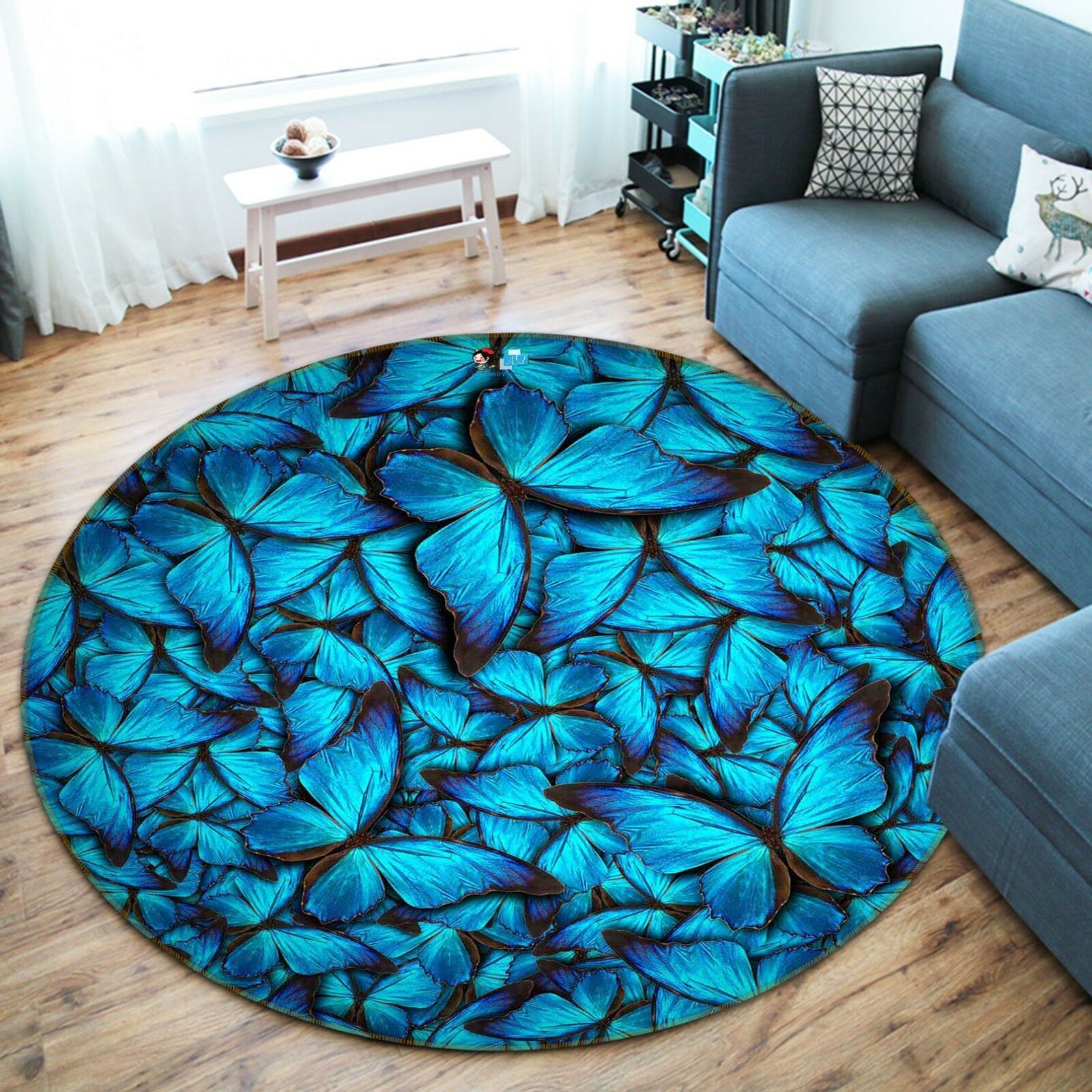 3D Butterfly 7 Non Slip Rug Mat Room Mat Round Quality Elegant Photo Carpet US
