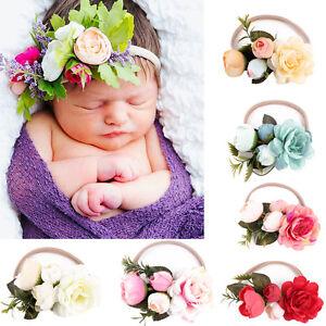 meilleur en ligne dernière collection chaussure Détails sur 1 pièce mode élastique bébé enfants fait à la main Fleur  Bandeau couronne