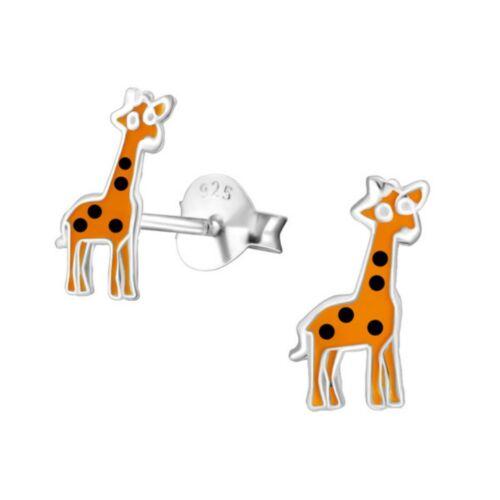 Boxed Childrens Girls Sterling Silver Small Giraffe Stud Earrings