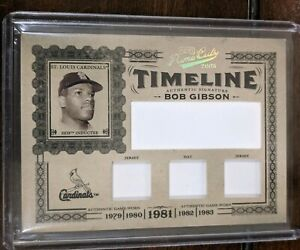 2005 Prime Cuts Timeline #T35  Bob Gibson Sample Relic, 1/1 HOF Cardinals