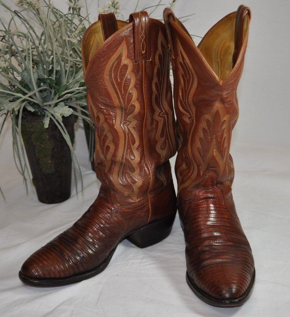Vintage Tony Lama Teju Lizard Foot Cowboy Boots8540Men's 8DBrown Kid Leather