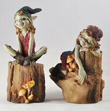 Pixies Sat on Logs Pair Garden Magic Decor Indoor Outdoor Fairy Elf Gift 39128