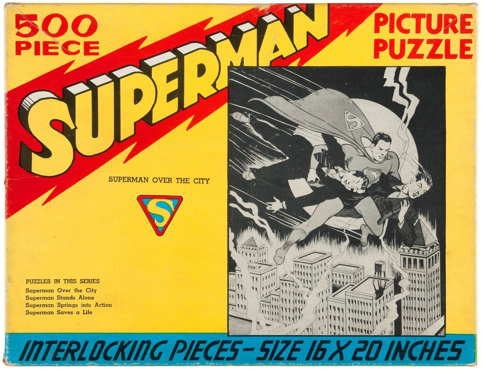 SUPERMAN - OVER CITY 500 Bit PUZLE 1940 SAALFIELD w ORIGINAL låda RARE