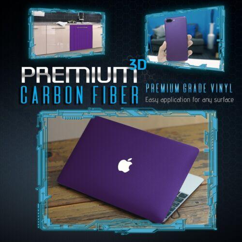 3D Premium Matte Purple Carbon Fiber Overlay Vinyl Wrap Bubble Free Air Release