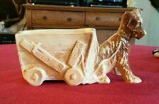 McCoy terrier puppy dog planter pulling wagon - Nice
