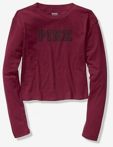 NWT-PINK-VICTORIA-039-S-SECRET-CROPPED-LONG-SLEEVE-TEE-DEEP-RUBY-XLARGE-FREE-SHIP