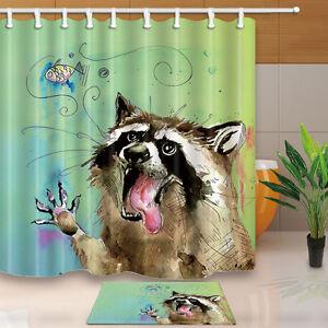 """71/"""" Bastet Design Waterproof Polyester Fabric Shower Curtain Liner Bath Mat Set"""