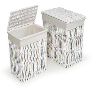 "White Hamper with Liners Set of 2 Laundry Baskets 22""x18""x13"" Wicker, Cotton"