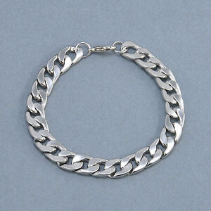 Men-039-s-Retro-Stainless-Steel-Silver-Chain-Link-Bracelet-Wristband-Bangle-Jewelry