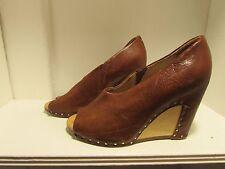 MAISON MARTIN MARGIELA Tan Leather Open Toe Wedge Shoes Size US 5.5