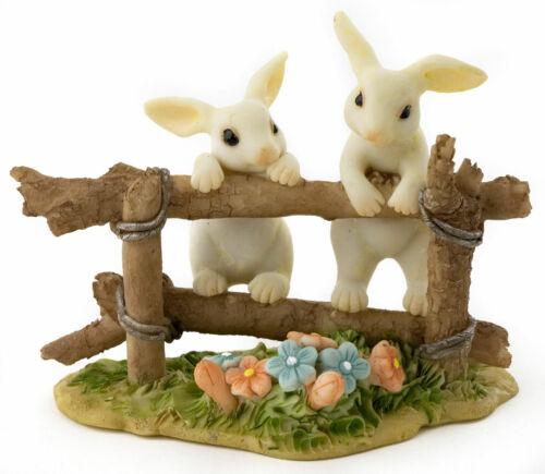 Miniature Dollhouse FAIRY GARDEN Figurine ~ BUNNY Rabbit Friends on Fence