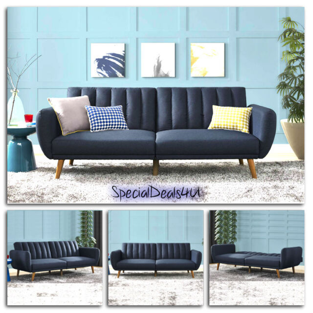 Genial Futon Convertible Couch Sofa Bed Vintage Sleeper Living Room Furniture  Lounger