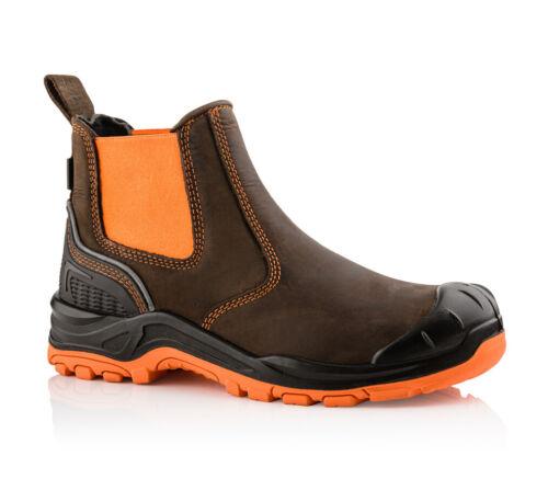 Buckler Hi-Vis Chelsea Dealer Safety S3 Waterproof Leather Work Brown Viz Boots