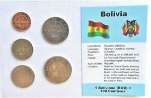 BOLIVIA-SET-of-5-GEM-UNCIRCULATED-COINS-all-1997-in-a-see-through-container
