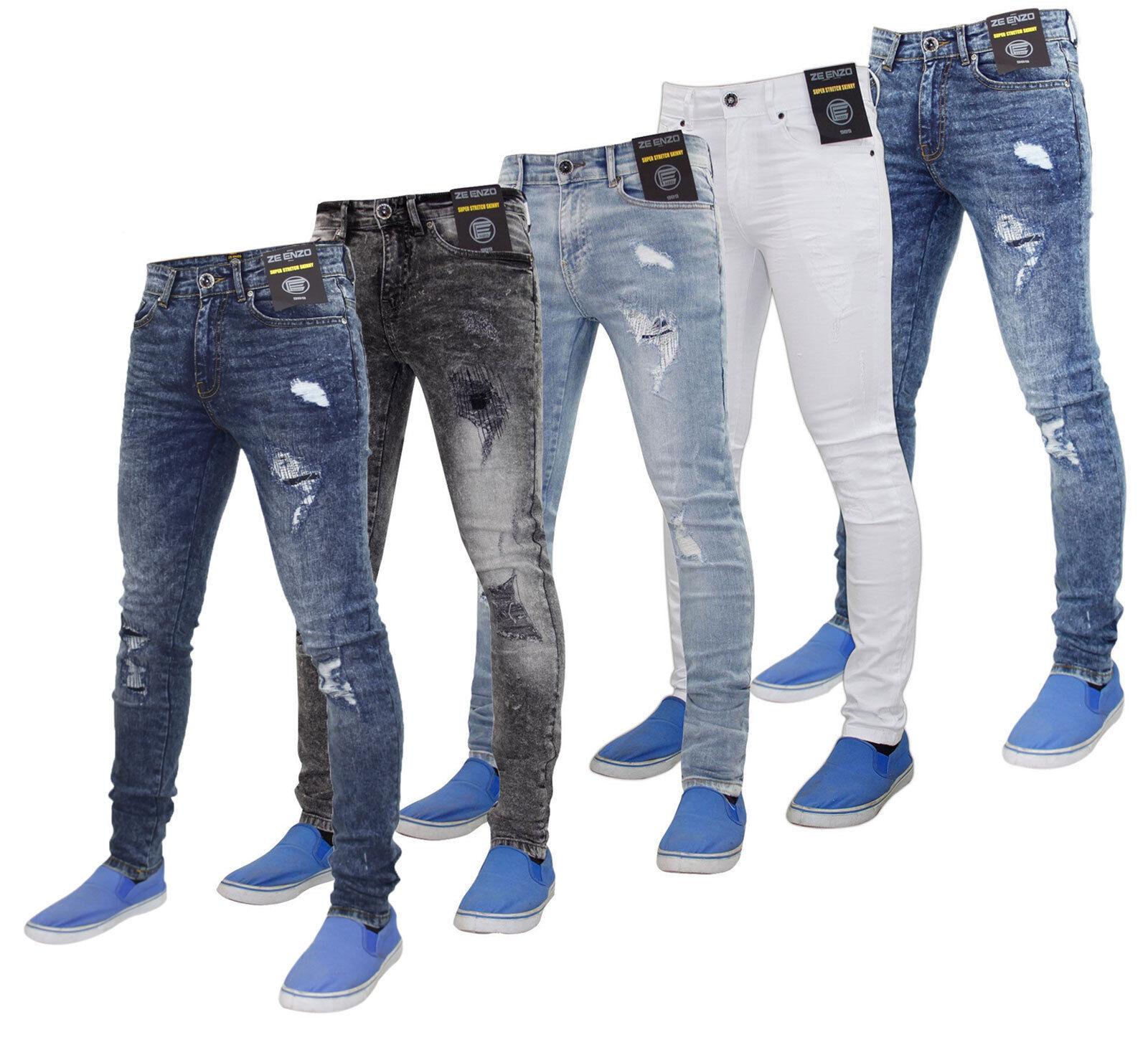 Enzo Uomo Super Elasticizzato Aderente Strappato & & & Riparazione Denim Jeans 98e5cd