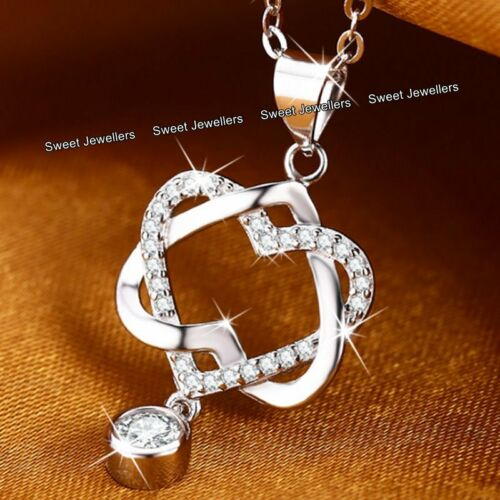 Heart Silver /& Crystal Diamond Necklace XMAS Gifts For Her BLACK FRIDAY DEALS