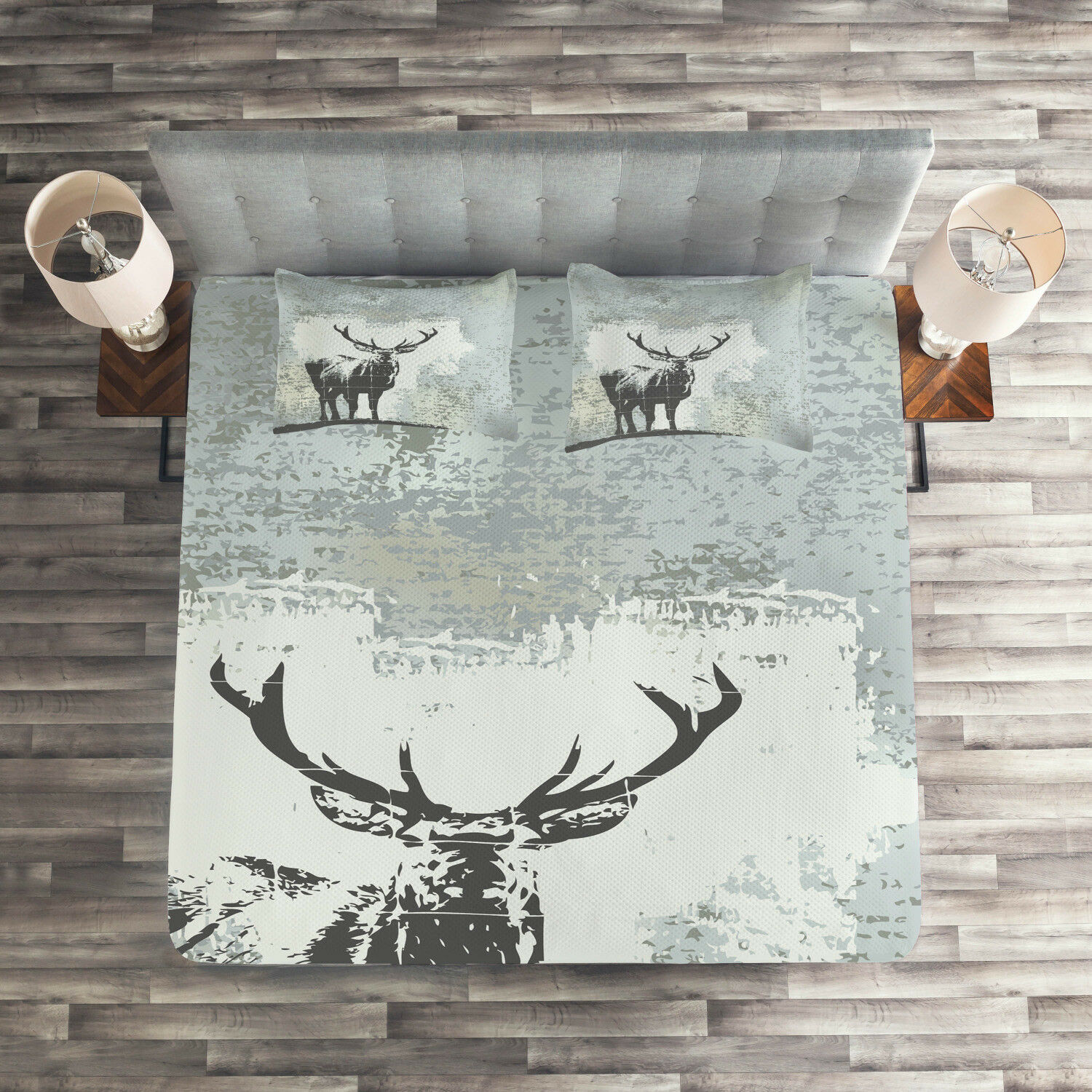Antlers Quilted Coverlet & Pillow Shams Set, Stag Silhouette Grunge Print