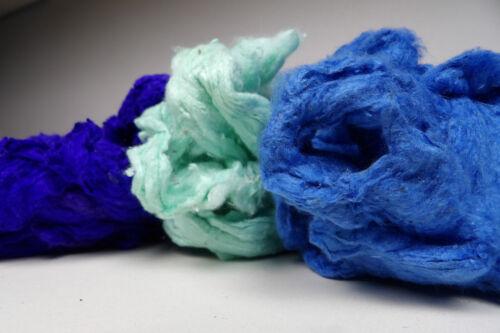 Tussah Silk Noil /'Water/' Mix 30g Needle Felting Spinning Textile Craft Fibre Art