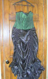 black / green vintage goth corset dress victorian