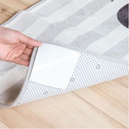 White Rug Carpet Mat Washable Non Slip Skid Reusable Silicone Grip Grippers N3