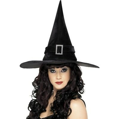 Witch Hat Diamante Buckle Adult Womens Smiffys Fancy Dress Costume Accessory