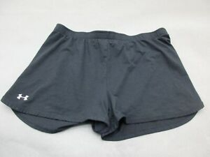UNDER-ARMOUR-SIZE-M-WOMENS-BLACK-ATHLETIC-FITNESS-GYM-ACTIVE-TRACK-SHORTS-634