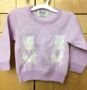 37bec73eee Vintage 60s Toddler Girl s Lavender   White Teddy Bear Acrylic ...