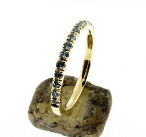 Half-Eternity-Blue-Topaz-Wedding-band-or-stacking-rings-comfort-fit-14-K-Gold
