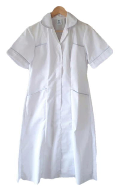 Healthcare Ladies Uniform Nurse Carer White Grey Trim Tunic Dress Size UK 8 10