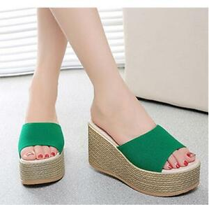 fe2d256b6910c4 Womens Platform High Wedge Heels Flip Flops Beach Slippers Casual ...