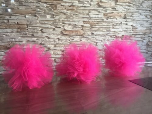 Birthday//Hen Party//Baby Shower TULLE POM POMS 3 X Pink Hanging Decorations