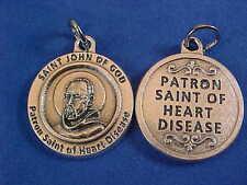 "St JOHN of GOD Patron Saint of HEART DISEASE Saint Medal Silver Tone 3/4"""