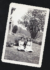 Old Antique Photograph Two Woman Sitting on Ground With Adorable Puppy Dog