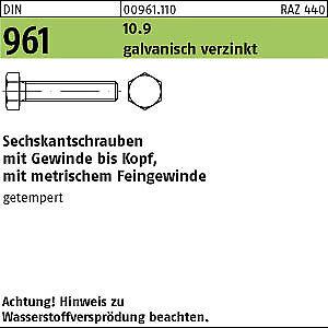 100 Feingewinde Sechskantschrauben DIN 961 10.9 verzinkt M14x1,5x40