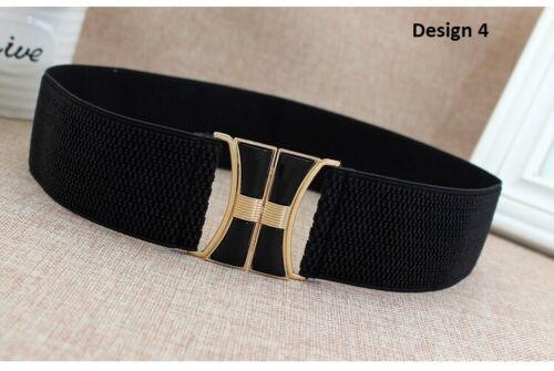 Women girls solid dress adornment wide elastic stretch black corset waist Belt