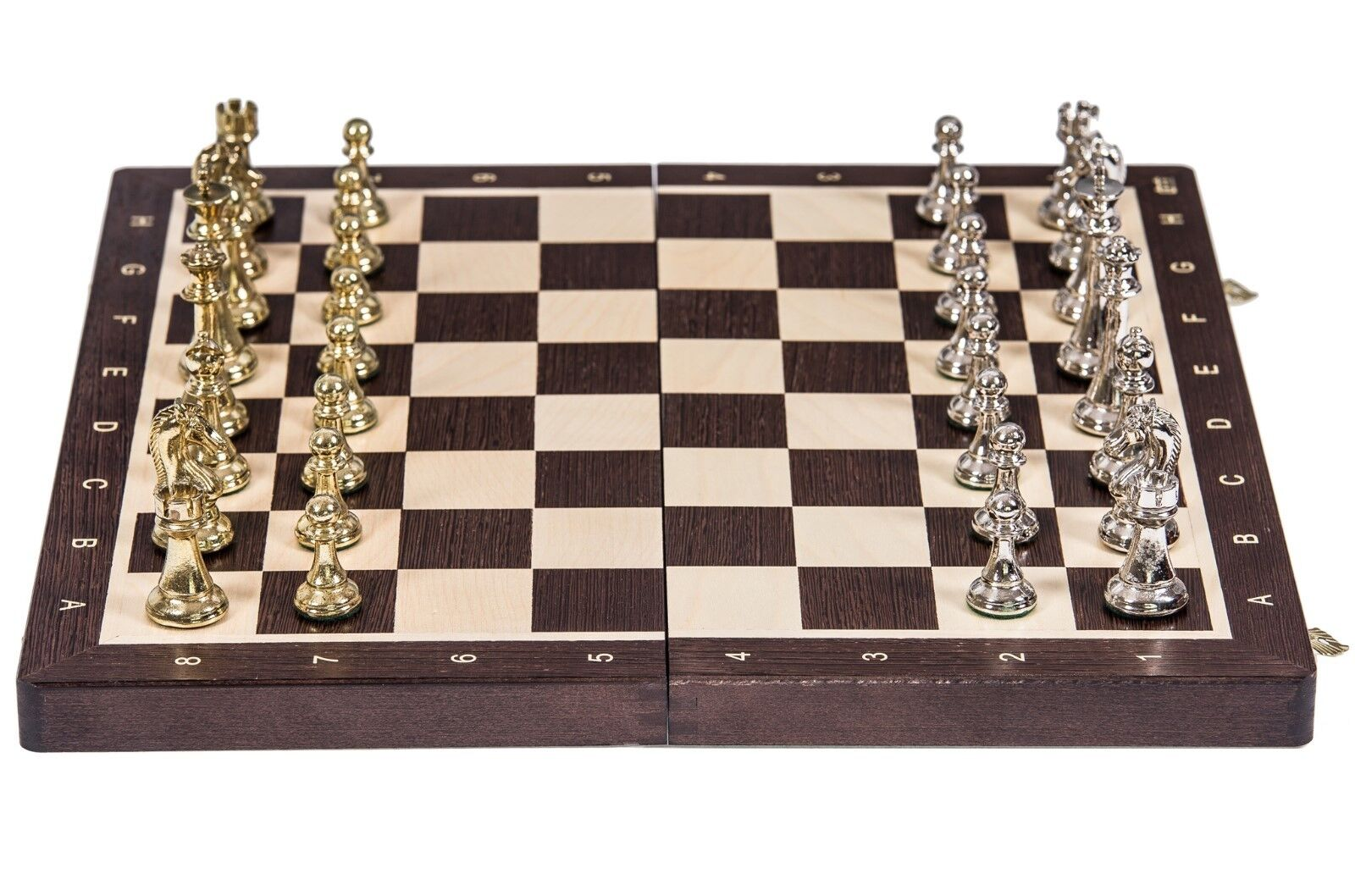 SQUARE - Chess Tournament No. 4  - Wenge   Metal - Chessboard & Chess Pieces