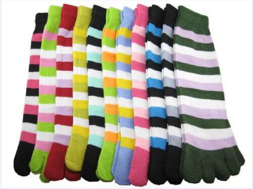 5//10 Pairs Warm Long Women Cotton Socks Five Fingers Colorful Stripes Toe Socks