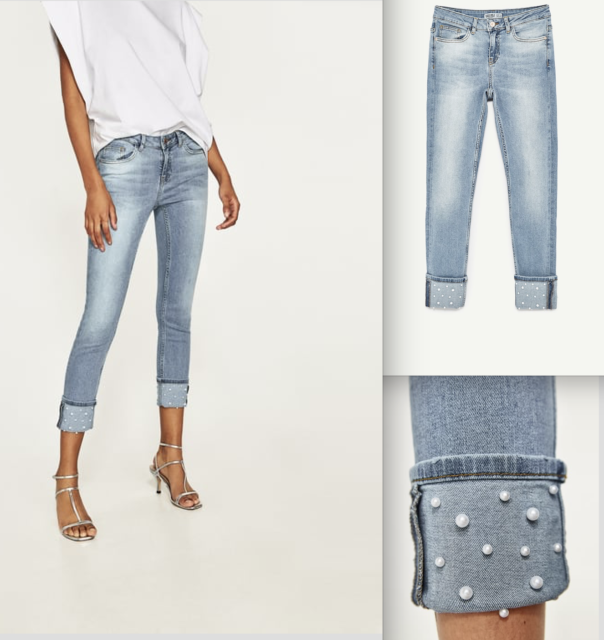 Zara skinny MID RISE JEANS WITH PEARL BEADS-ref 6164/172-light blue-size 4-NWT