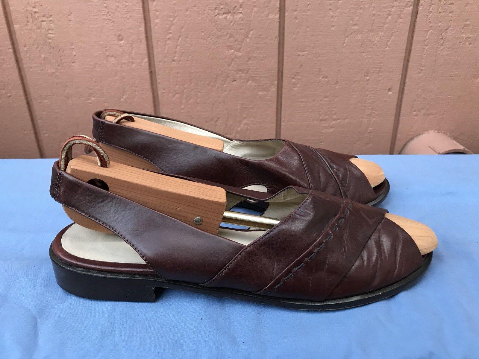 Excellent état utilisé BALLY Croix Bracelet en Cuir Marron Sandales Chaussures Femmes Taille 9.5 US 40.5 EUR A5
