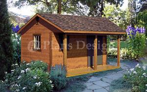 14' X 16' Storage Shed Plans, Backyard Cabin Or Cottage Building, # P51416