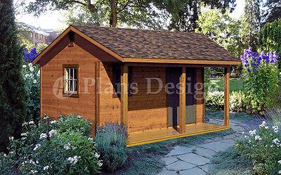 14 X 16 Storage Shed Plans Backyard Cabin Or Cottage Building P51416 Ebay