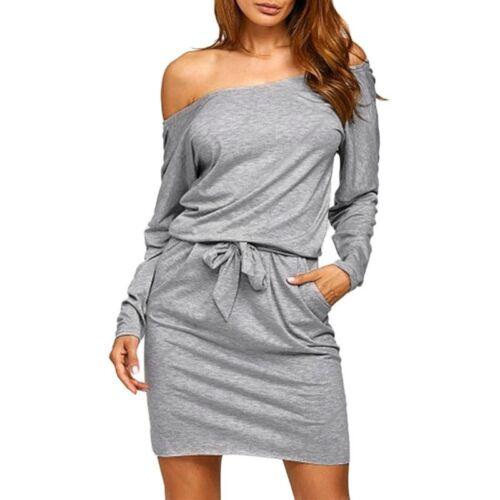 Ladies Oversized Mini Dress Women Casual Loose Off the Shoulder Jumper Z