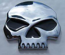 De Metal Cromado cráneo insignia Cromo Calavera Emblema 68x65mm Auto Adhesivo Nuevo
